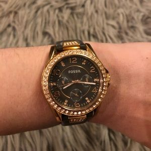Brown and gold fossil watch